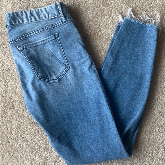 MOTHER Looker ankle gray jeans light wash